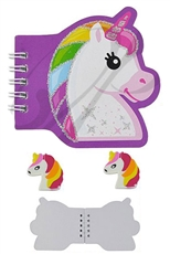 A Dozen Unicorn Notebook and Eraser Set