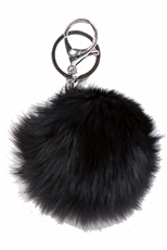 Dozen Assorted Color Faux Fur Pompom Key Chain
