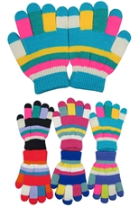 A Dozen Assorted Color Multi Tone Kids Gloves