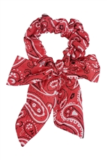 A Dozen Assorted Color Paisley Print Bow Hair Tie