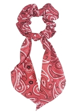 A Dozen Assorted Color Paisley Print Hair Tie