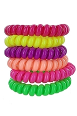A Dozen Assorted Color 6-pc Phone Cord Hair Tie Set