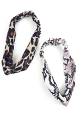 A Dozen Assorted Color Animal Print Headwrap