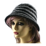 Stripe Faux Fur Hat