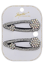 A Dozen 2-pc Rhinestone Hair Clip Set