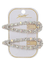 A Dozen Assorted Color 2-pc Rhinestone Hair Clip Set