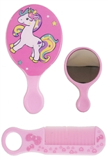 A Dozen Assorted Color Unicorn Brush and Mirror Set