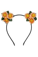 Dozen Assorted Color Floral Cat Ear Headband