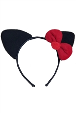A Dozen Assorted Color Ribbon Accent Cat Ear Headband