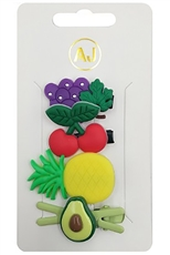 A Dozen Assorted Color 4-pc Fruit Theme Hair Clip Set