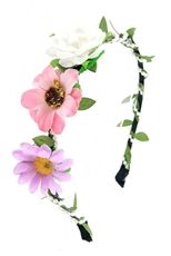 Dozen Assorted Color Flower and Pearl Headband