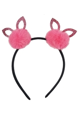 Dozen Assorted Color Cat Ear Pompom Headband