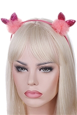 A Dozen Assorted Color Animal Ear Pompom Headband