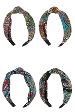 A Dozen Assorted Color Center Knotted Fashion Headband
