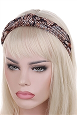 A Dozen Assorted Color Snake Skin Center Knotted Headband