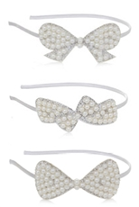 A Dozen Assorted Color Pearl Ribbon Headband