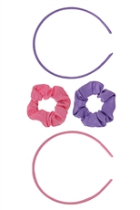 A Dozen Assorted Color 4-pc Headband and Scrunchie Set