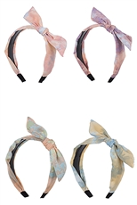 A Dozen Assorted Color Bow Accent Tie Dye Print Headband