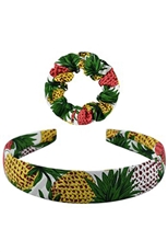 A Dozen Assorted Color Pineapple Print Headband and Scrunchie Set