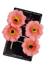A Dozen Assorted Color 4-pc Flower Pin Set