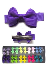 A Dozen Assorted Color 10-pc Baby Bow Hair Clip Set