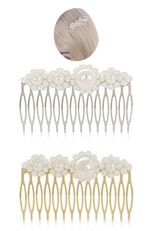 A Dozen Assorted Color Pearl Accent Hair Comb