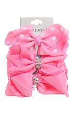 Dozen Assorted Color 3-pc Multi Bow Hair Clip Set