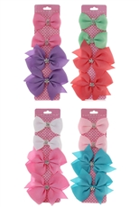 Dozen Assorted Color 4-pc Alligator Clip Bow Set