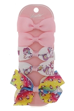 Dozen Assorted Color 5-pc Alligator Clip Bow Set