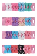 A Dozen Assorted Color 8-pc Alligator Clip Bow Set