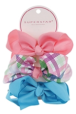 A Dozen Assorted Color 3-pc Multi Bow Hair Clip Set