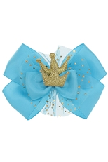 A Dozen Assorted Color Crown Accent Bow Hair Clip