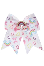 A Dozen Multi Colored Rainbow Print Bow Hair Clip