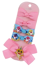 A Dozen Assorted Color 5-pc Baby Shark Alligator Clip Bow Set