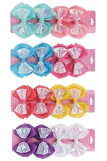 A Dozen Assorted Color 4-pc Alligator Clip Bow Set
