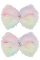A Dozen 2-pc Soft Fur Bow Hair Clip Set
