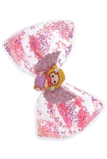 A Dozen Assorted Color Glitter Bow Hair Clip Set