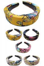 A Dozen Assorted Color Butterfly Print Fashion Headband