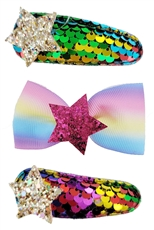 A Dozen Assorted Color 3-pc Hair Clip Set