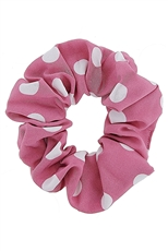 A Dozen Assorted Color Polka Dot Print Scrunchie