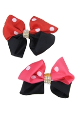 Dozen Multi Tone 2-pc Bow Hair Clip Set