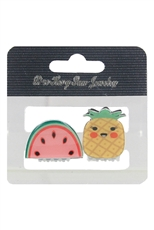 Dozen Assorted Color Fruit Theme 2-pc Mini Jaw Clip Set