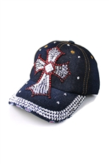 Crystal Embedded Cross Hat