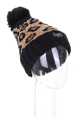 A Dozen Assorted Color Fur Lined Leopard Pompom Beanies