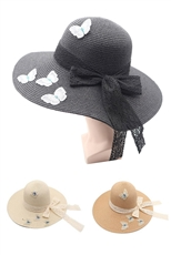 A Dozen Assorted Color Butterfly Accent Wide Brim Straw Hat