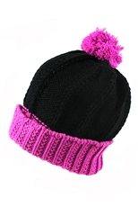 DZ Pack Assorted Color Multi Tone Knit Pom Pom Beanie