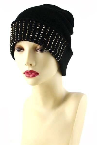 Dozen Assorted Color Stud Embedded Fashion Beanies