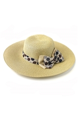 DZ Pack Assorted Color Multi Tone Polka Dot Bow Accent Brim Sun Hat