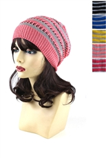 Dozen Assorted Color Striped Beanies