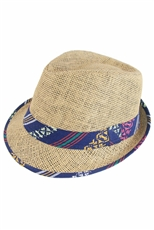 DZ Pack Assorted Color Paper Straw Tribal Fedora